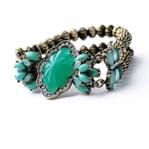 Elastyczna bransoletka z zielonym kamieniem