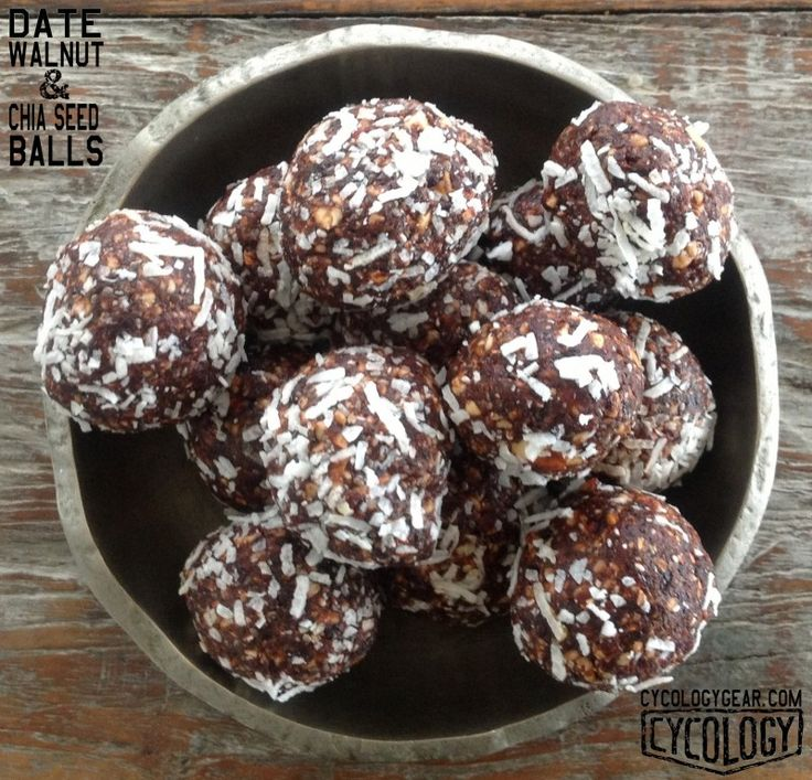 Date, Walnut & Chia Seed Balls. Healthy energy packed snacks.
