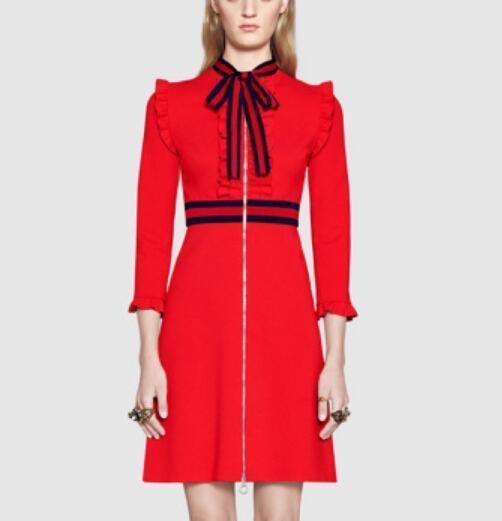 Womens Red Bow Tie Stand Collar Dress Vintage Mid Long Long Sleeve Gown S-2Xl