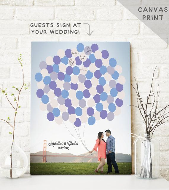 Canvas Guest Book Alternative - Photo Guest book BALLOONS - Unique Guest Book for Wedding Reception - CANVAS Guestbook Print