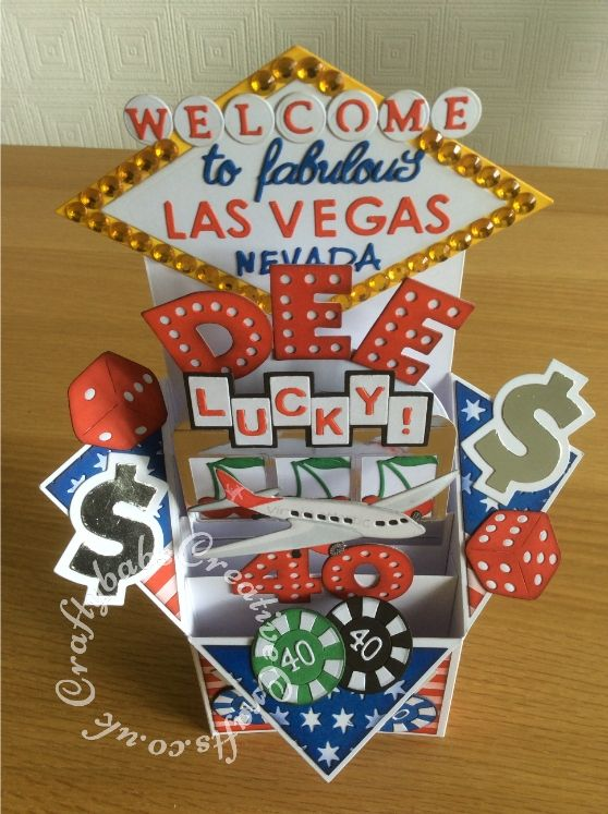 Las Vegas Themed Pop Up 40th Birthday Card Made Using Numerous Dies Including Sizzix Originals