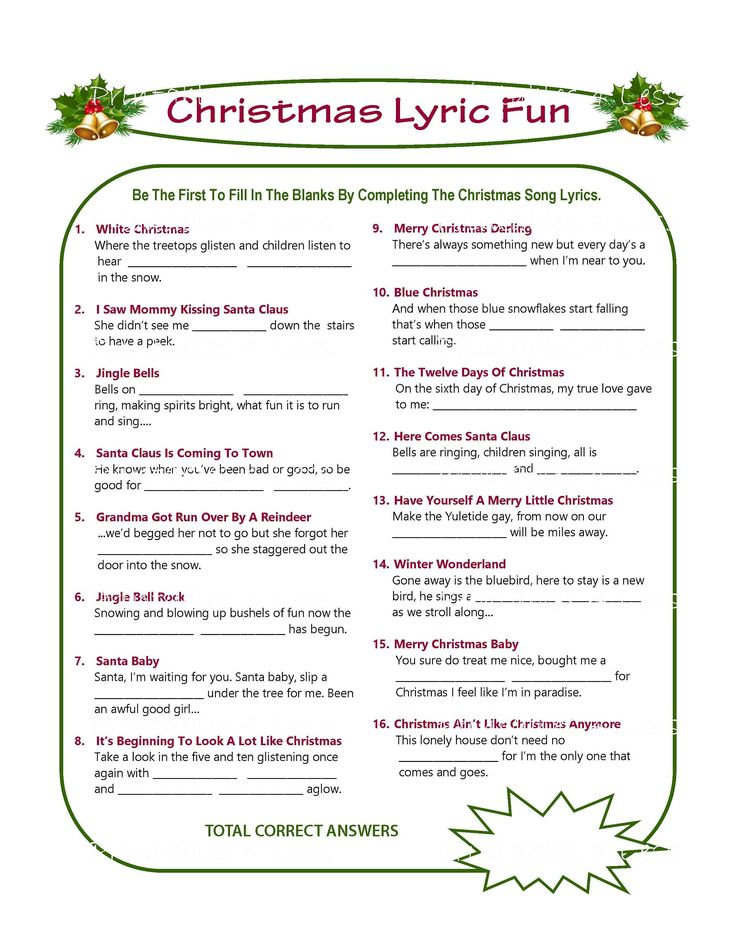 Christmas Song Game Christmas Music Game Christmas Carol