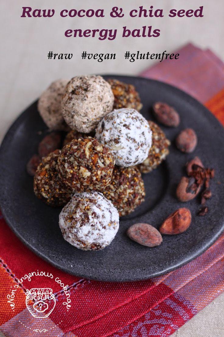 #Raw cocoa & chia seed energy balls ( #vegan, #glutenfree)