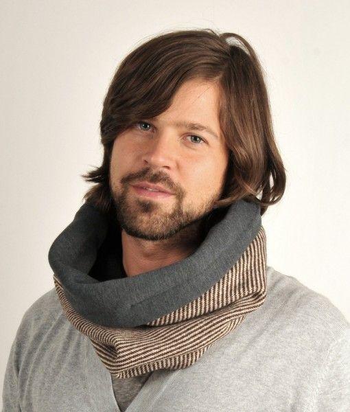 Stribet tube tørklæde med mørkegråt fleece inderfor