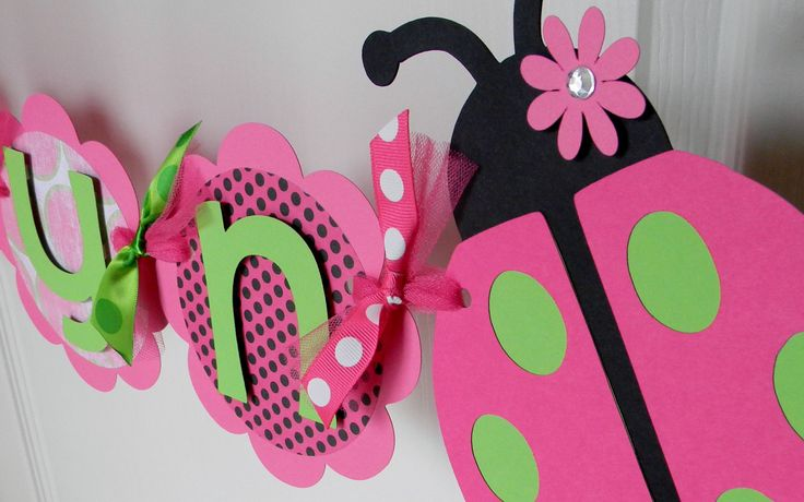 Ladybug Birthday Party - Name Banner - Pink and Green. $22.00, via Etsy.