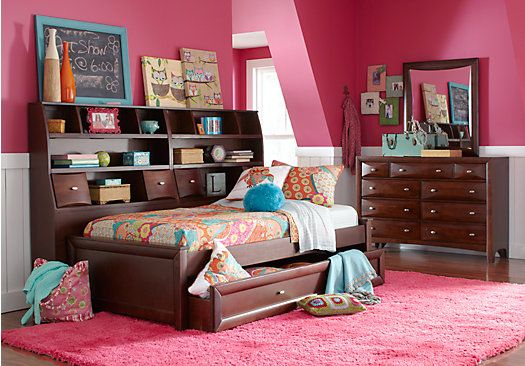 Picture Of Ivy League Cherry 7 Pc Full Daybed Bedroom From Teen Bedroom Sets Furniture Guest