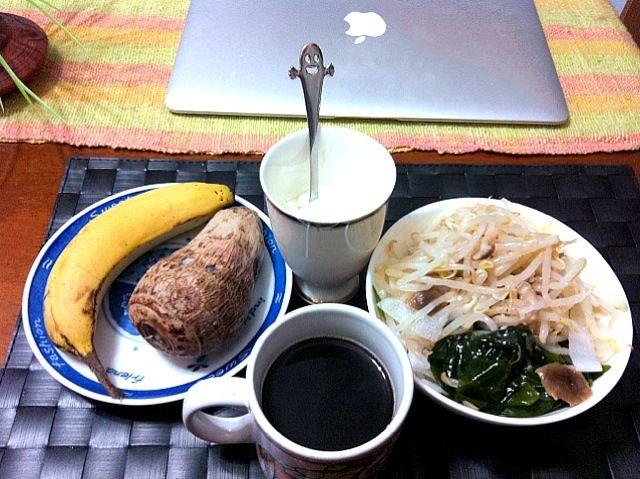 今朝の自宅モーニング♫  余り物ゆえ昨晩の夕食とあんまり変わらないです(笑) 流石にバナナとお芋は残しちゃいました(⌒-⌒; ) - 22件のもぐもぐ - もやしミックス温野菜サラダ&ヨーグルト by manilalaki