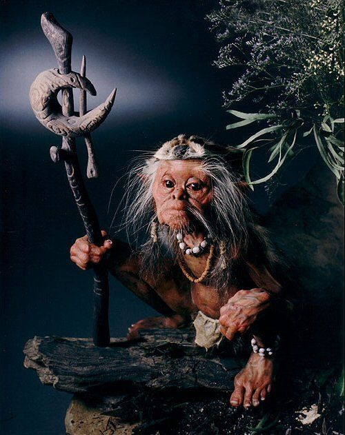 Bog Shaman Life size sculpture by Thomas Kuebler