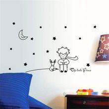 Duvar Sticker beş Yıldız Ay Küçük Prens Boy Ev Dekor çıkartmaları Çocuk Odası çocuklar için Yıldız Ay Duvar Çıkartmaları PVC 96*42 CM(China (Mainland))
