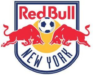 Major League Soccer pin - NY Red Bulls - approx 1 inch size by Code Four Athletics. $4.00