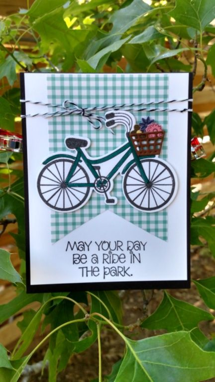 """Cheryl had a lot of fun with dies this camp.  This one uses Stamps Of Life """"Bicycle2stamp""""  (The basket is my favorite part)"""