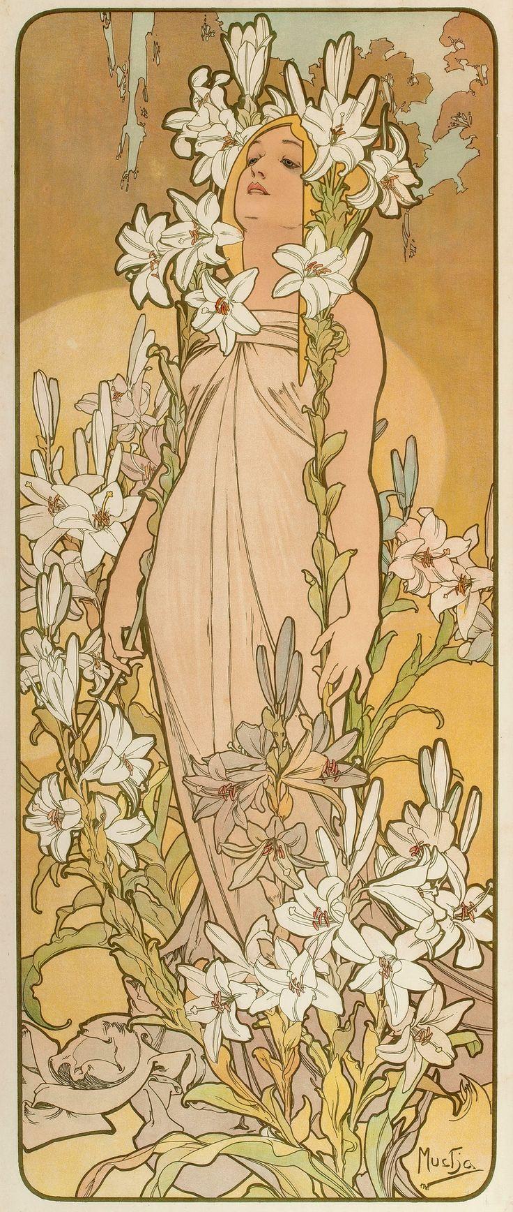 """""""Les Fleurs - The Lily"""" ~ Alphonse Mucha, 1898 Tradição Folclore balcãnica , linha de contorno negro, elástica, linhas ganham vida própria, não há plano horizontal, vertical e não apresenta chão."""