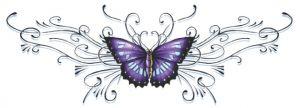 Paarse+Vlinder+Onderrug+Tattoo  Ook mooi op de bikinilijn