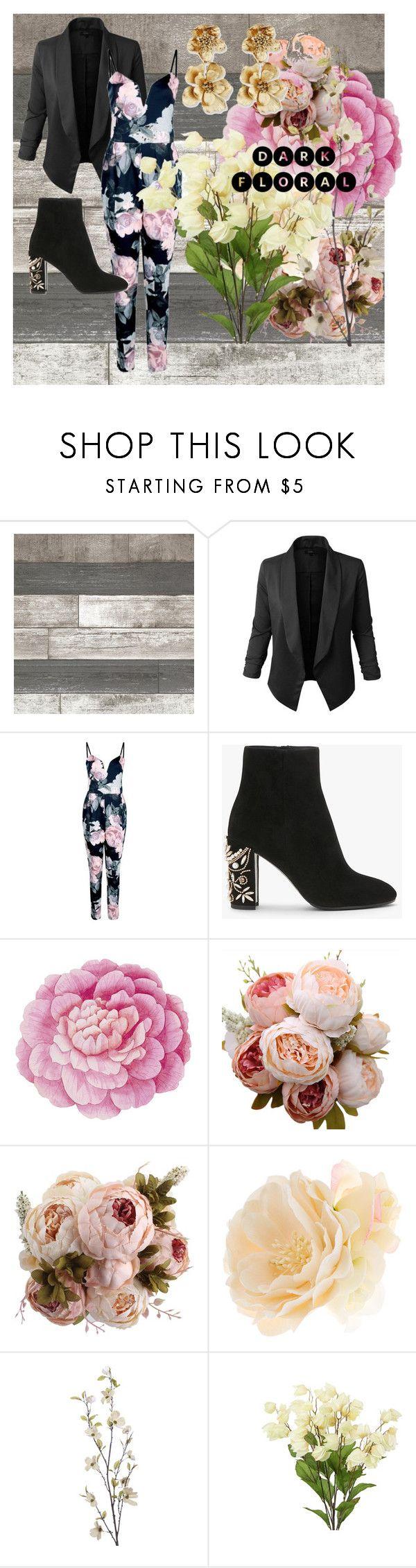"""Dark Floral"" by glitterunicorn13 ❤ liked on Polyvore featuring Jupe de Abby, Boohoo, Ballard Designs, Accessorize, Pier 1 Imports and Oscar de la Renta"