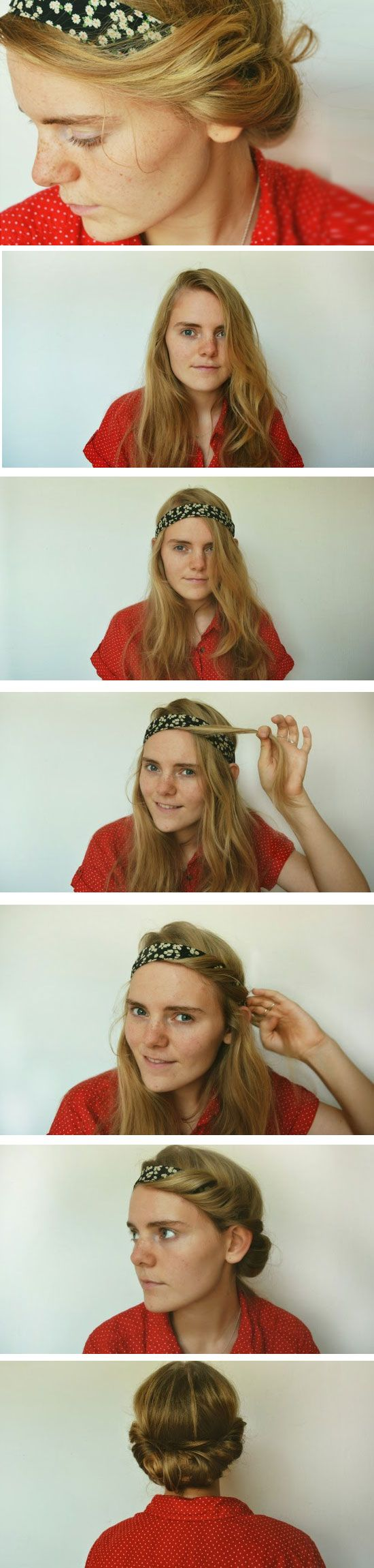 Twisted Bandana Updo | DIY No Heat Hairstyles for Long Hair