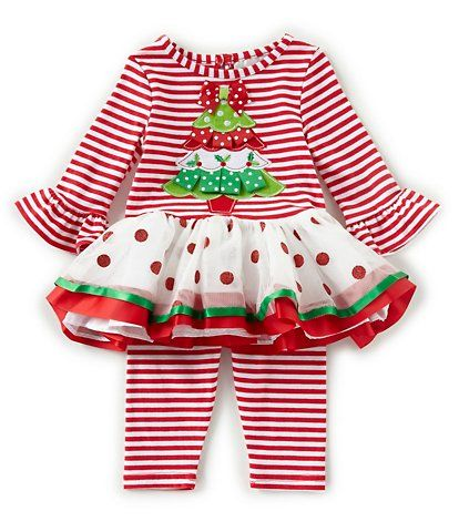 846b0b5e1 Rare Editions Baby Girls Newborn-24 Months Striped Christmas Tree Tunic &  Striped Leggings Set