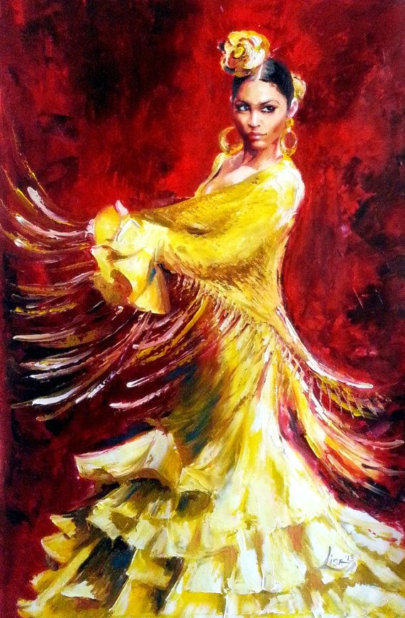 Original Oil Painting Flamenco Dancer  Yellow by ArtonlineGallery