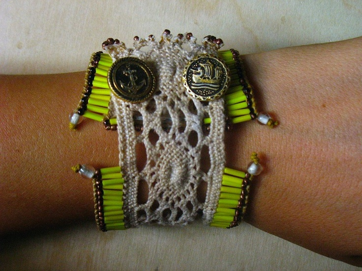 macrame crochet bracelet with long yellow beads