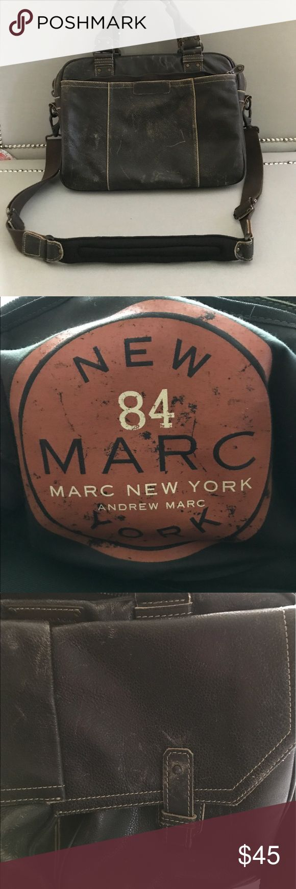 """Andrew Marc NY Bomber Distressed Laptop Bag Andrew Marc Distressed Leather Briefcase /Laptop bag. Gently used in great condition. Can be worn as a crossbody. 16""""x12""""x5 1/2 Andrew Marc Bags Laptop Bags"""