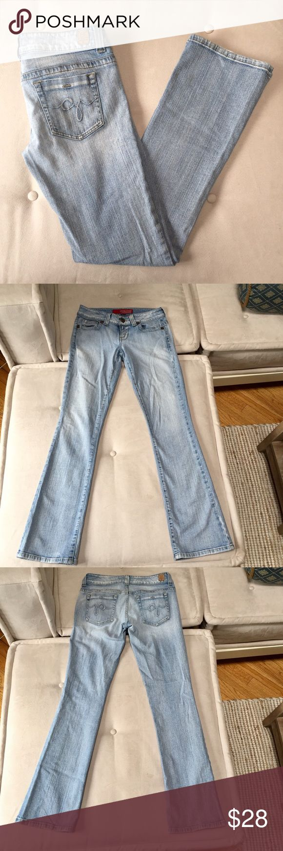 "Guess Daredevil Stretch Boot Cut Jeans 98% cotton/ 2% spandex.  Measures:  waist 14"", inseam 32"", front rise 7"", hem 7 3/4"", zipper 2"".  Very good condition- no holes, tears or stains. Lightly distressed back hems (see photo). Guess Jeans Boot Cut"
