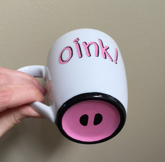 Cute hand painted pig mug.  Oink with pig by LakesideStudioVA