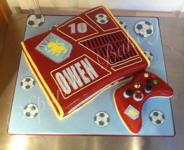 Xbox box cake - Aston villa theme