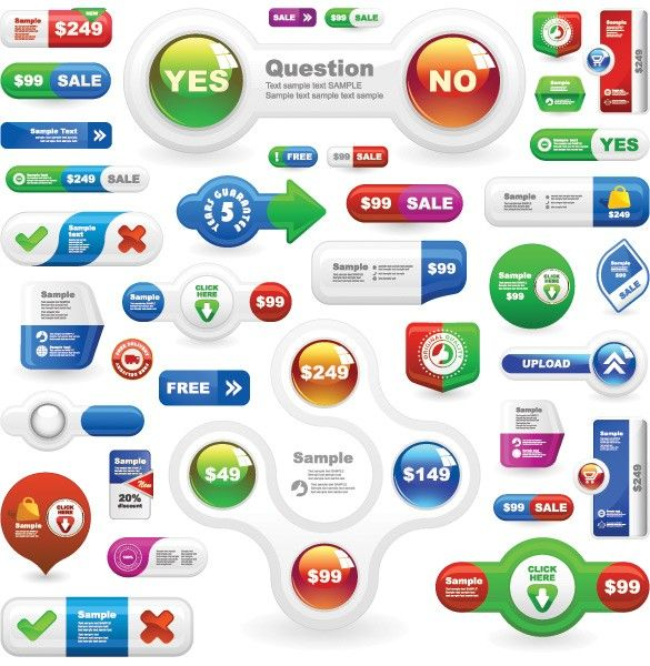 XOO Plate :: Glossy Vector Buttons and Elements Pack - Colorful and glossy UI buttons and elements vector pack.