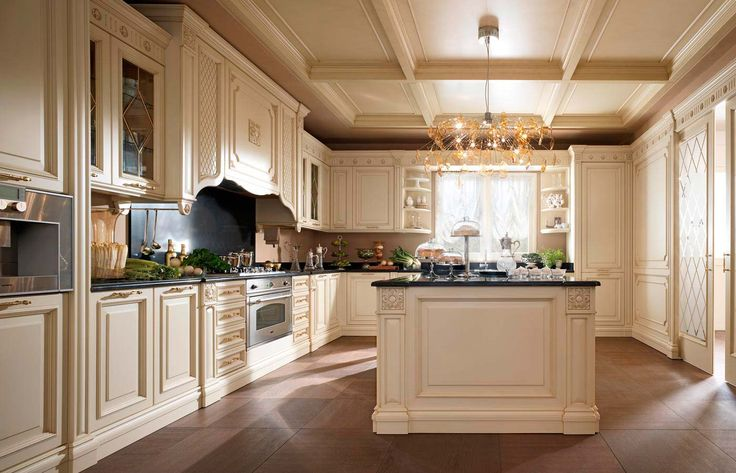 Classic kitchen in ivory with blue accents. FM Bottega D\'Arte ...