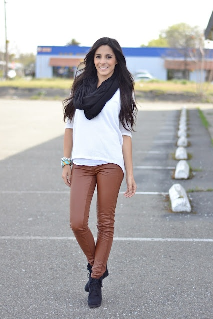 Brown legging outfit with watch white shirt black scarf
