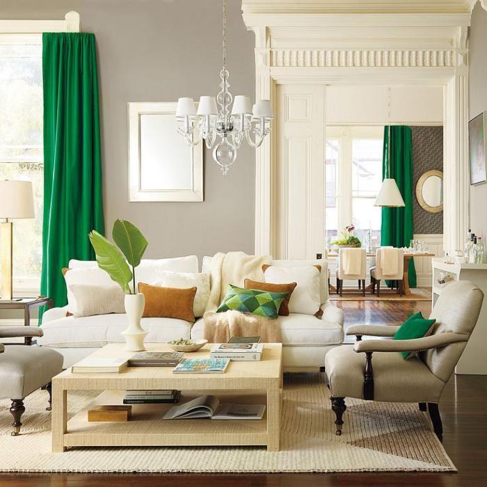 table de salon carre rideaux verts et plafonnier style baroque moderne - Model Dedecoration Desalon Moderne