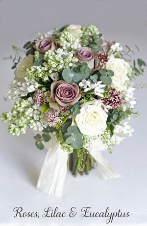 Roses, lilac, and eucalyptus.  Nice.  I would substitute the lilac for sommat else, though.