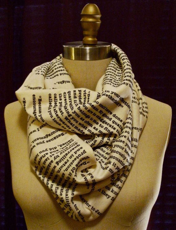 Pride and Prejudice Book Scarf by storiarts on Etsy, $42.00