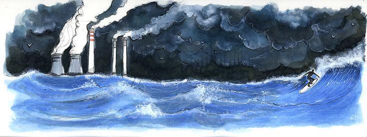 Surfer. Watercolor. 40 cm x 15 cm.