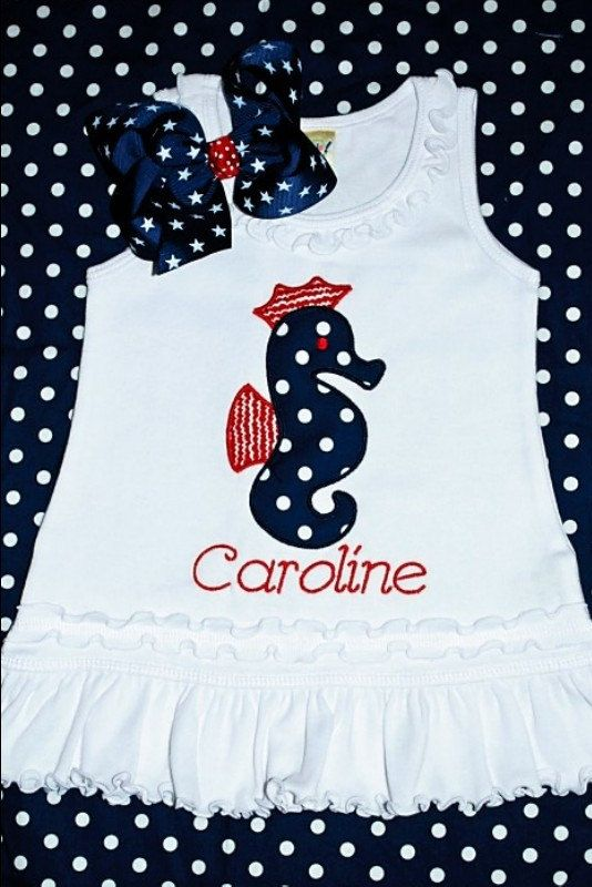 Toddler Dress w Seahorse applique / Fourth of July/ red white blue polka dot Monogram Personalized White summer Dress