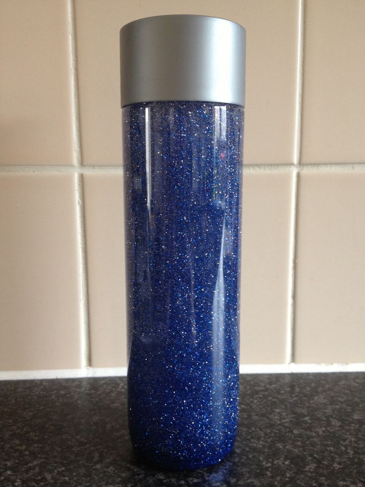 Made my own 'calm down jar' with a voss bottle I bought home from Florida. I used 2 cups of warm water and 1 tube of silver glitter glue (works out roughly 1 tablespoon per cup) and then I just added some extra blue glitter. It takes about 5 minutes to all settle which is plenty of time for Jackson to calm down!