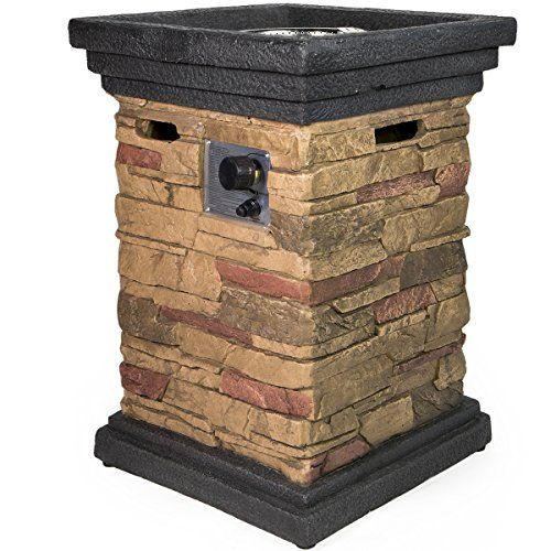 "Barton Outdoor Propane Fire Pits w/ Cover, Column, Slate Rock  Dimension: 21.5"" x 21.5"" x 30""  40,000 BTU output  Uses 20 lb. propane tank (not included)  Includes lava rocks and protective cover  Black and brown"
