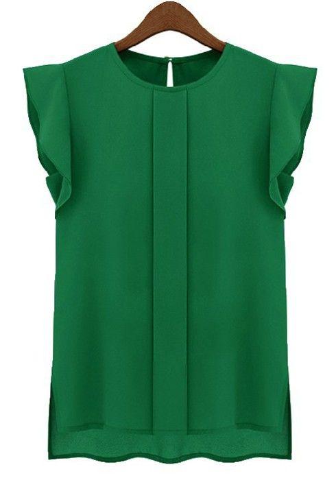 Green Falbala Round Neck Puff Sleeve Chiffon Blouse
