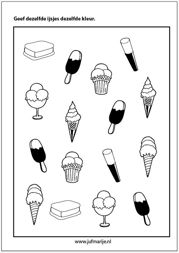 Kleur dezelfde ijsjes. Groep 1, visuele discriminatie