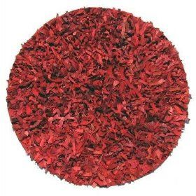 Leather Shag Rug 3` Round Red Area Rug $29.99