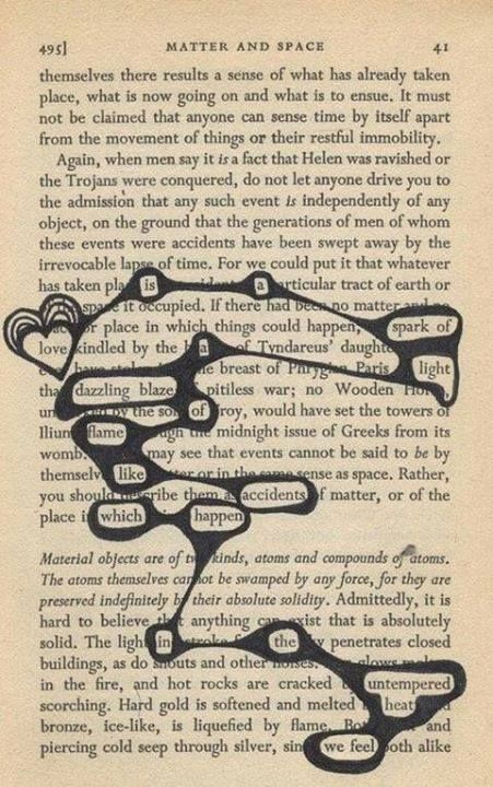 Poetry between the words on a page. This could be used as a pre-reading strategy or as a way for beginners to interact with a FL text.
