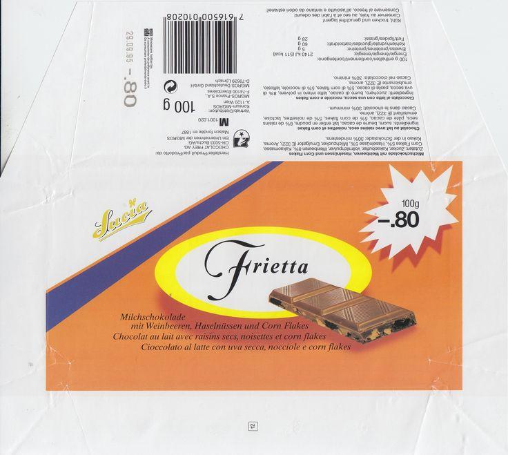 Frietta Milchschokolade mit Weinbeeren, Haselnüssen und Corn Flakes 1994