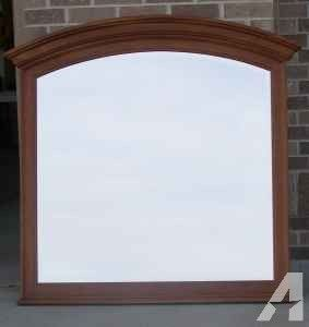 Large cherry framed beveled mirror - $25 (NW Omaha 120th & Military)
