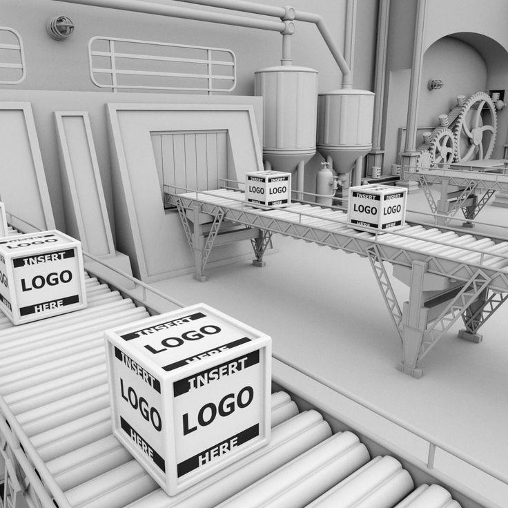 Interior factory scene 3d model ad factoryinterior