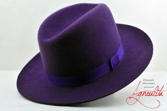 ba040093e2eaa The Ridge - Dark Purple Wool Felt Ridge Fedora - Handmade Gutter Crown  Fedora Hat - Men Women