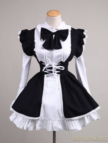 Black And White Long Sleeves Sweet Maid Dress Fashion In 2018 Pinterest Dresses