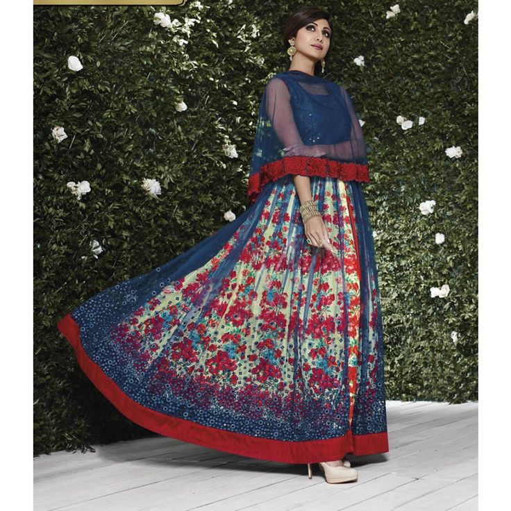 Shilpa Shetty Navy Blue and Cream Net #Anarkali Suits- $108.27