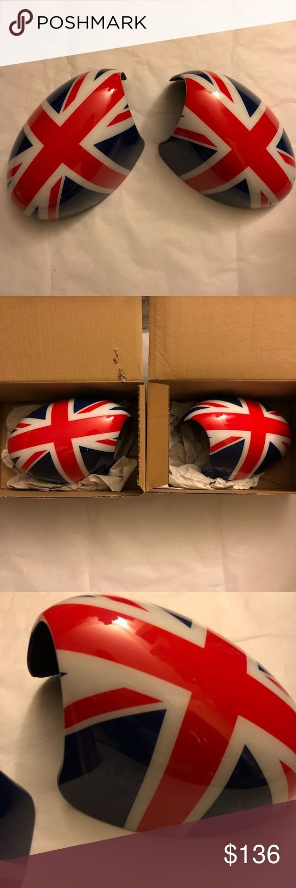 MINI Cooper Union Jack 🇬🇧 Mirror Caps For all MINI Cooper fanatic out there...!!! USED for 3 months: MINI Cooper Union Jack 🇬🇧 Mirror Caps for 2006 MINI Cooper S Convertible R52  The perfect compliment to your union jack roof graphics or a bold way to emphasize the mirror shape.  Set of two. (Left and Right) Condition: Very Good (still looks new)  P.S.  Please see detailed pictures and written descriptions... so check them carefully. Please pay particular attention to the sizes and…