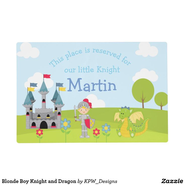 Blonde Boy Knight and Dragon Placemat