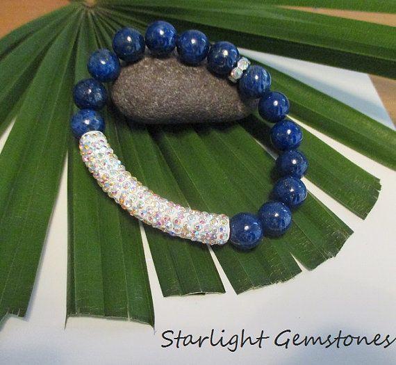 Lapis Lazuli Chunky Gemstone Bracelet with Sparkly Rhinestone Clay Tube.