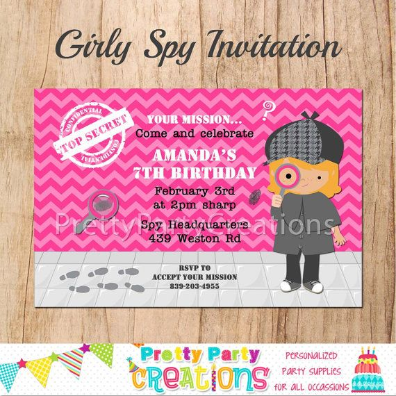 It is a picture of Juicy Spy Party Invitations Printable Free